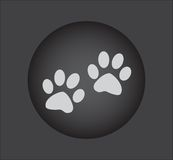 Animal paw prints icons, web icon. black button Royalty Free Stock Photos