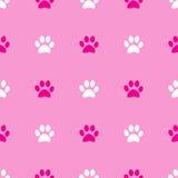 Animal paw seamless pink pattern Royalty Free Stock Image