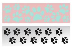 Animal paws prints cartoon banner set. Animal dog cat paws prints cartoon banner set for your design Royalty Free Stock Photos
