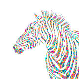 Animal pazzle shapes illustration silhouette cute zebra. EPS Stock Image