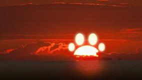 Rainbow Bridge animal pet dog cat paw footprint made from setting sunset sun