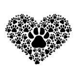 Animal and pet love design. Dog footprints in heart shape over white background. animal and pet love design. vector illustration Royalty Free Stock Photos