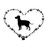 Animal and pet love design. Heart shape with silhouette of dog icon over white background. vector illustration Royalty Free Stock Image