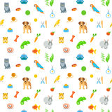 Animal Pets Grooming Flat Colorful Seamless Pattern. Animal pets grooming and care flat colorful seamless pattern. Simple bright background with scattered Royalty Free Stock Photos
