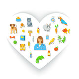 Animal Pets Grooming and Healthcare Flat Colorful Vector Concept. Animal pets grooming and health care flat colorful vector concept, in the shape of a heart Royalty Free Stock Photography
