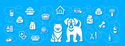 Animal Pets Grooming and Healthcare Flat Horizontal Header Banner Royalty Free Stock Photos