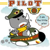 Funny pilot. Animal pilot on little plane, vector cartoon illustration. vector on EPS 10 Royalty Free Stock Photography