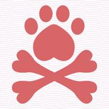Animal pirate flag with paw and cross bones. Pink funny dog logo.Vet doodle vector illustration. vector illustration