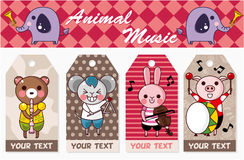 Animal play music card. Vector drawing Stock Image