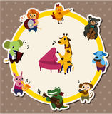 Animal play music card. Illustration Royalty Free Stock Images