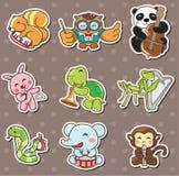 Animal play music stickers. Cartoon vector illustration Stock Photos