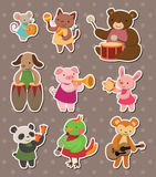 Animal play music stickers. Cartoon vector illustration Royalty Free Stock Images