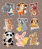 Animal play music stickers Stock Photos