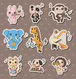Animal play music stickers Royalty Free Stock Images