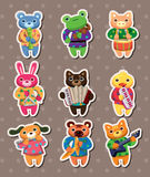 Animal play music stickers Royalty Free Stock Photo