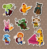 Animal Play Music Stickers,Label Royalty Free Stock Photography