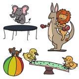 Animal playground. Set of animals playing on a playground Stock Photo