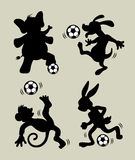 Animal playing soccer silhouettes Stock Photography