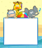 Animal Pool Banner. Cute animals with snorkel, goggles and a beach ball holding a blank banner. Eps10 royalty free illustration