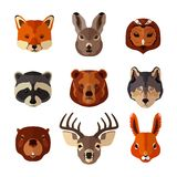 Animal portrait flat icon set stock illustration