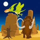 Animal pré-histórico da ilustração do vetor na natureza Dinossauro e pterodátilo Fotografia de Stock