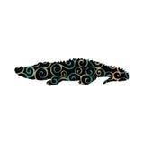 Animal predador da silhueta da cor do réptil do crocodilo do jacaré ilustração royalty free