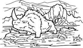 Animal prehist?rico mam?fero antiguo de la historieta, rinoceronte de la edad de hielo stock de ilustración