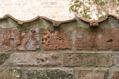 Animal print on a brick wall in baker corridor in luebeck.  Royalty Free Stock Photos