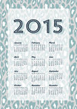 2015 Animal Print Calendar. 2015 calendar with a leopard pattern as background. Week starts on Sunday royalty free illustration