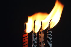Animal print candles with the flame being blown Stock Images