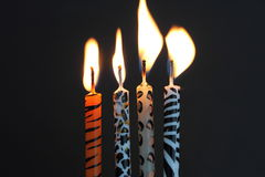 Animal print candles with the flame being blown Royalty Free Stock Images