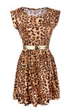 Animal print dress with golden belt. Isolated on white stock photo