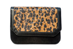 Animal print fashion hand bag stock images