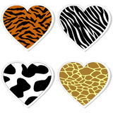Animal print heart stickers Royalty Free Stock Photo
