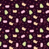 Animal print pattern cute kawaii style cat, kitten, kitty on dark background Stock Photo