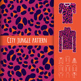 Animal print seamless pattern. Trendy animal print seamless pattern with examples of usage. Fashion clothes vector illustration. Clothes icons set included Royalty Free Stock Images