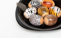 Animal print. Stylish set of Easter eggs on a white background. Easter concept. Selective focus royalty free stock photo