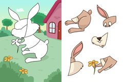Animal puzzle. A vector illustration of rabbit puzzle Stock Photography
