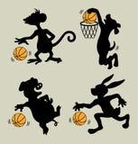 Animal que juega siluetas del baloncesto Fotos de archivo libres de regalías