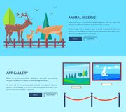 Animal Reserve and Art Gallery Vector Web Banner. Animal reserve and art gallery template vector web banner in graphic design with deers family outdoors and Stock Photos