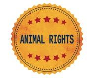 ANIMAL-RIGHTS文本,在葡萄酒黄色贴纸邮票 免版税库存照片