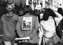 Animal rights demonstration. Protesters take part in a march in London to demonstrate against the Canadian seal pup cull, on March 11, 1978 Royalty Free Stock Photos