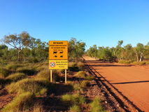 Animal Road sign in outback Australia Beware caution Royalty Free Stock Photography