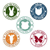 Animal round distort old stamp set with protection, save, discover and love slogan for use in desig Stock Images
