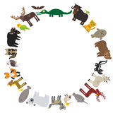 Animal round frame, bison bat manatee fox elk horse wolf fur seal Polar bear Mountain goat raccoon Eagle skunk parakeet Jaguar nar Stock Images