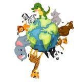 Animal salvaje que se coloca en todo el mundo ilustración del vector