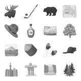 Animal sauvage, cerfs communs, klaxons et d'autres éléments de Canada Actions réglées de collection de Canada Photo stock