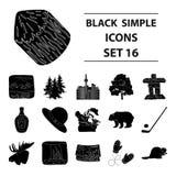 Animal sauvage, cerfs communs, klaxons et d'autres éléments de Canada Les icônes réglées de collection de Canada dans le style no Photo libre de droits