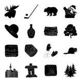Animal sauvage, cerfs communs, klaxons et d'autres éléments de Canada Les icônes réglées de collection de Canada dans le style no Photographie stock libre de droits