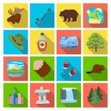 Animal sauvage, cerfs communs, klaxons et d'autres éléments de Canada Les icônes réglées de collection de Canada dans le style pl Photo stock